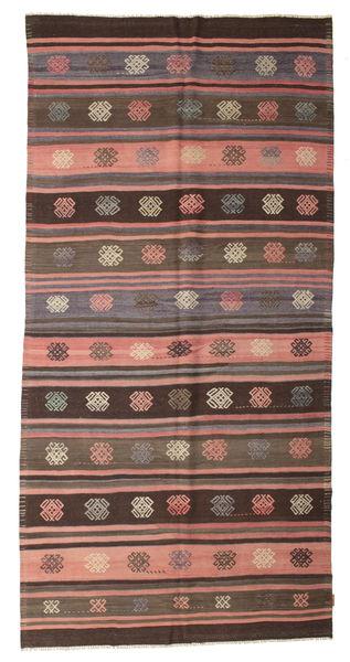 Kelim Semiantiikki Turkki Matto 168X340 Itämainen Käsinkudottu Tummanruskea/Vaaleanruskea (Villa, Turkki)