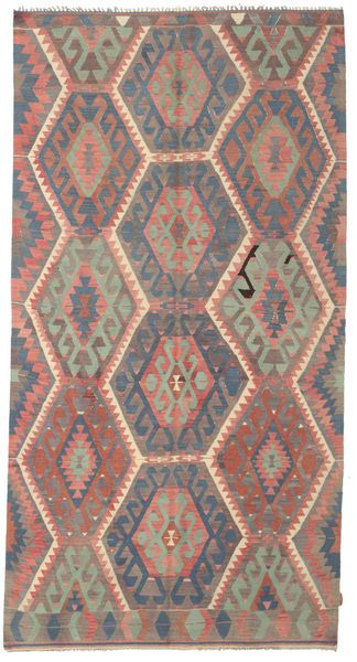 Kelim Semiantiikki Turkki Matto 169X318 Itämainen Käsinkudottu Tummanpunainen/Pinkki (Villa, Turkki)