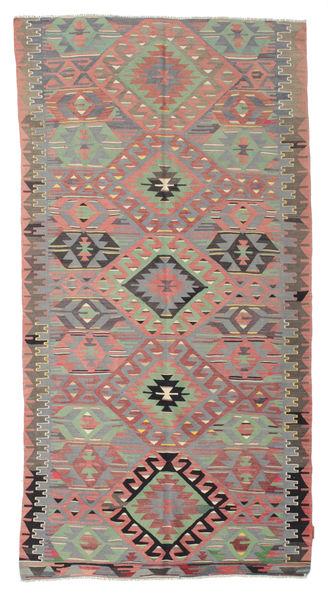 Kelim Semiantiikki Turkki Matto 146X284 Itämainen Käsinkudottu Tummanharmaa/Vaaleanruskea (Villa, Turkki)