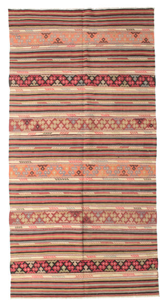 Kelim Semiantiikki Turkki Matto 164X317 Itämainen Käsinkudottu Tummanpunainen/Tummanruskea (Villa, Turkki)