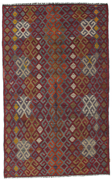 Kelim Semiantiikki Turkki Matto 182X300 Itämainen Käsinkudottu Tummanpunainen/Tummanharmaa (Villa, Turkki)
