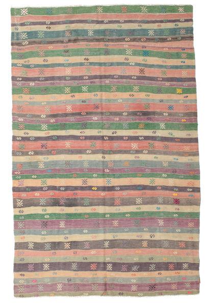 Kelim Semiantiikki Turkki Matto 196X308 Itämainen Käsinkudottu Tummanharmaa/Vaaleanvioletti (Villa, Turkki)