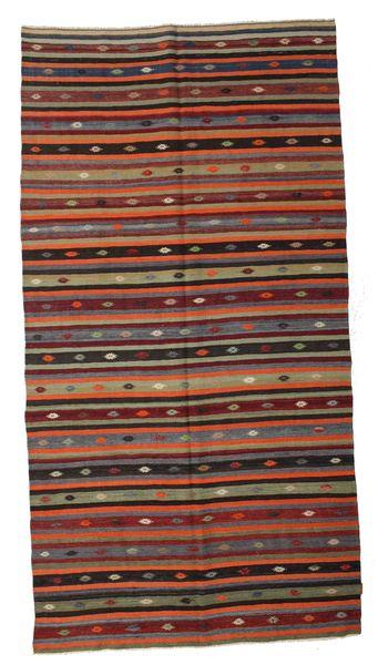 Kelim Semiantiikki Turkki Matto 190X360 Itämainen Käsinkudottu Tummanpunainen/Tummanruskea (Villa, Turkki)