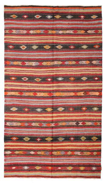 Kelim Semiantiikki Turkki Matto 180X322 Itämainen Käsinkudottu Tummanpunainen/Ruoste (Villa, Turkki)