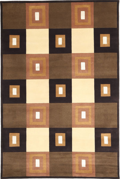 Himalaya Matto 136X205 Moderni Käsinsolmittu Ruskea/Musta ( Intia)