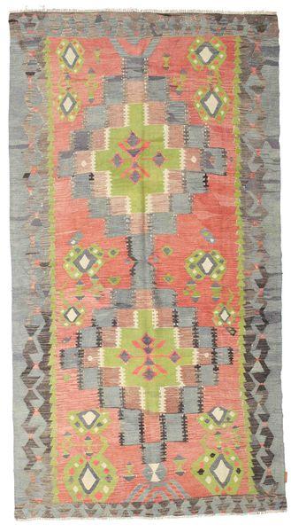 Kelim Semiantiikki Turkki Matto 157X290 Itämainen Käsinkudottu Tummanharmaa/Vaaleanharmaa (Villa, Turkki)