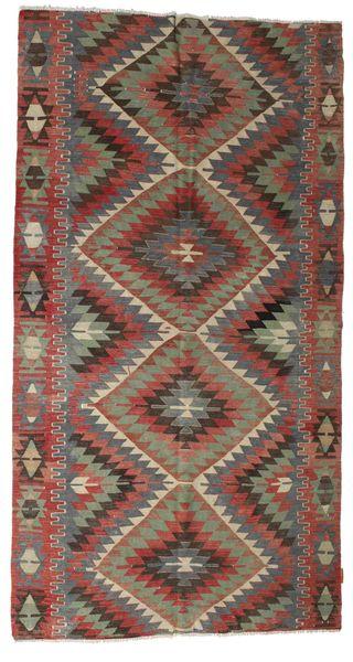 Kelim Semiantiikki Turkki Matto 145X278 Itämainen Käsinkudottu Tummanharmaa/Tummanpunainen (Villa, Turkki)