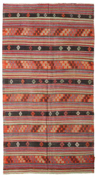 Kelim Semiantiikki Turkki Matto 163X302 Itämainen Käsinkudottu Tummanpunainen (Villa, Turkki)