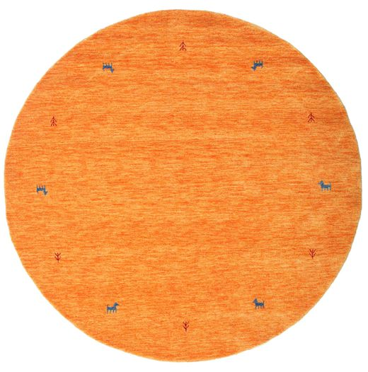 Gabbeh Loom Two Lines - Oranssi Matto Ø 200 Moderni Pyöreä Oranssi (Villa, Intia)