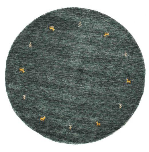 Gabbeh Loom Two Lines - Tummanharmaa/Vihreä Matto Ø 150 Moderni Pyöreä Musta/Tummanharmaa (Villa, Intia)