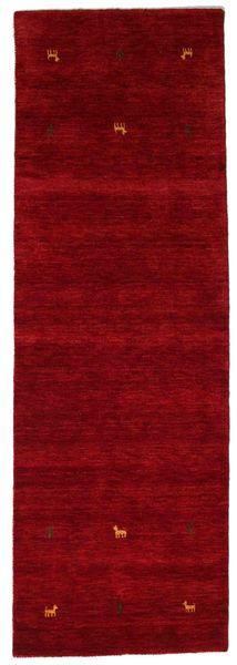 Gabbeh Loom Two Lines - Punainen Matto 80X250 Moderni Käytävämatto Tummanpunainen (Villa, Intia)