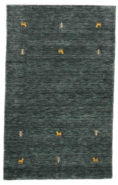 Gabbeh Loom Two Lines - Tummanharmaa/Vihreä Matto 100X160 Moderni Musta/Tummanharmaa (Villa, Intia)