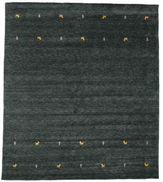 Gabbeh Loom Two Lines - Tummanharmaa/Vihreä Matto 240X290 Moderni Musta (Villa, Intia)