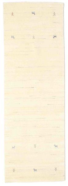 Gabbeh Loom Two Lines - Valkea Matto 80X250 Moderni Käytävämatto Beige/Valkoinen/Creme (Villa, Intia)