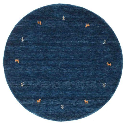 Gabbeh Loom Two Lines - Tummansininen Matto Ø 150 Moderni Pyöreä Tummansininen (Villa, Intia)