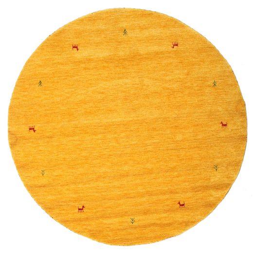 Gabbeh Loom Two Lines - Keltainen Matto Ø 200 Moderni Pyöreä Keltainen/Oranssi (Villa, Intia)