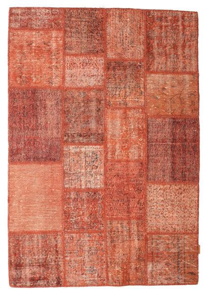 Patchwork Matto 138X201 Moderni Käsinsolmittu Punainen/Tummanpunainen (Villa, Turkki)