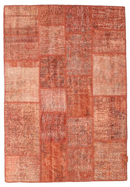 Patchwork Matto 138X201 Moderni Käsinsolmittu Punainen/Vaaleanpunainen (Villa, Turkki)