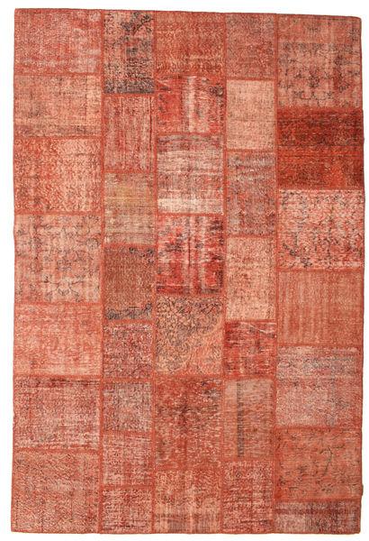 Patchwork Matto 202X301 Moderni Käsinsolmittu Punainen/Vaaleanpunainen (Villa, Turkki)