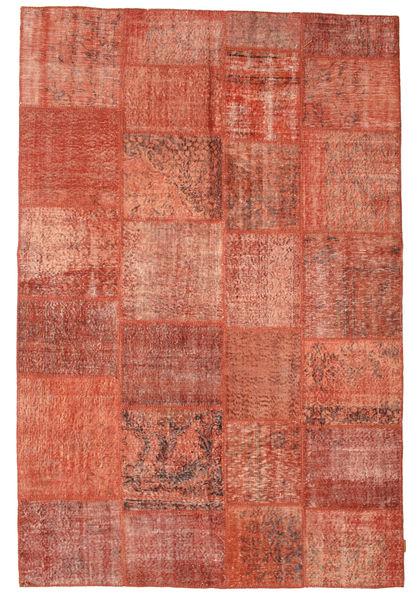 Patchwork Matto 198X296 Moderni Käsinsolmittu Punainen/Vaaleanpunainen (Villa, Turkki)