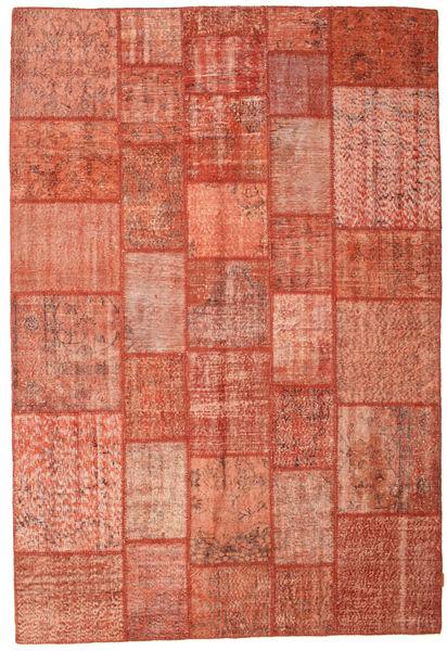 Patchwork Matto 202X298 Moderni Käsinsolmittu Punainen/Vaaleanpunainen (Villa, Turkki)