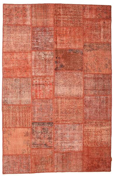 Patchwork Matto 195X302 Moderni Käsinsolmittu Punainen/Vaaleanruskea (Villa, Turkki)