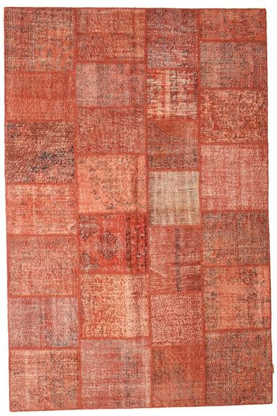 Patchwork Matto 198X301 Moderni Käsinsolmittu Punainen/Vaaleanpunainen (Villa, Turkki)