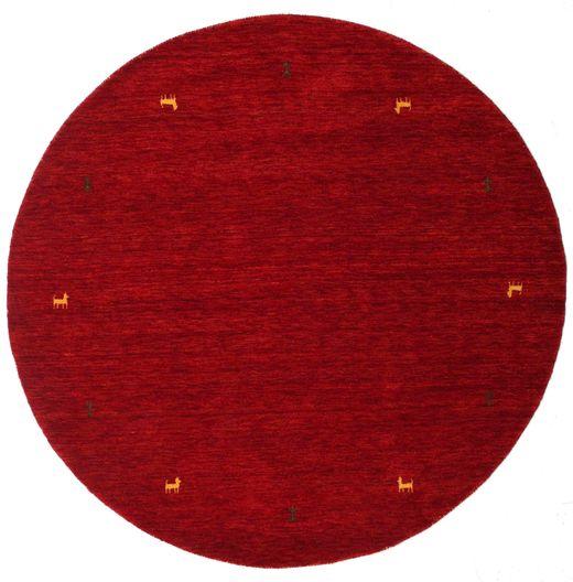 Gabbeh Loom Two Lines - Punainen Matto Ø 200 Moderni Pyöreä Tummanpunainen/Punainen (Villa, Intia)
