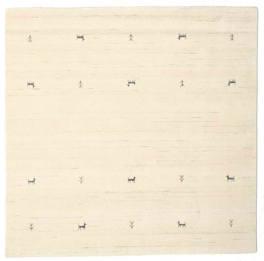 Gabbeh Loom Two Lines - Valkea Matto 200X200 Moderni Neliö Beige/Valkoinen/Creme (Villa, Intia)