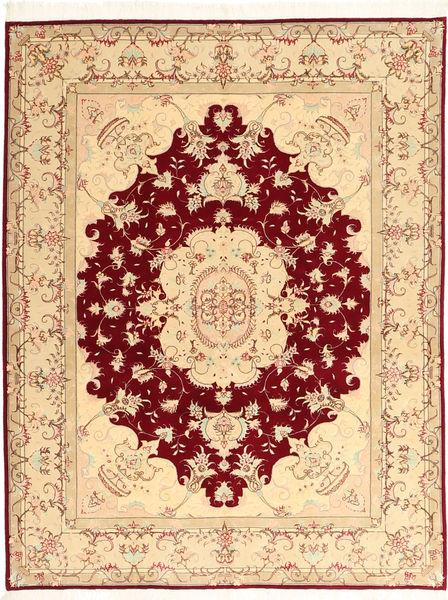 Tabriz 50 Raj Silkillä Matto 150X197 Itämainen Käsinsolmittu Beige/Tummanpunainen (Villa/Silkki, Persia/Iran)