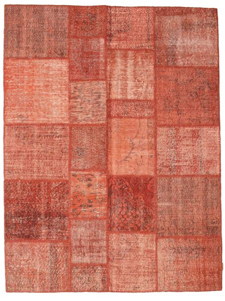 Patchwork Matto 175X232 Moderni Käsinsolmittu Punainen/Vaaleanpunainen/Tummanpunainen (Villa, Turkki)