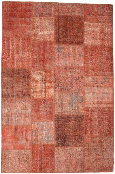 Patchwork Matto 198X300 Moderni Käsinsolmittu Punainen/Tummanpunainen (Villa, Turkki)