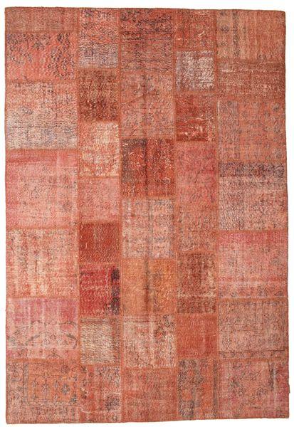 Patchwork Matto 202X297 Moderni Käsinsolmittu Punainen/Vaaleanpunainen/Tummanpunainen (Villa, Turkki)