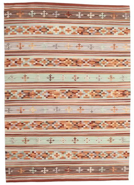 Kelim Anatolian Matto 160X230 Moderni Käsinkudottu Tummanpunainen/Vaaleanharmaa (Villa, Intia)