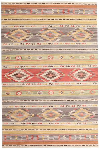 Kelim Nimrud Matto 190X290 Moderni Käsinkudottu Vaaleanharmaa/Tummanbeige (Villa, Intia)
