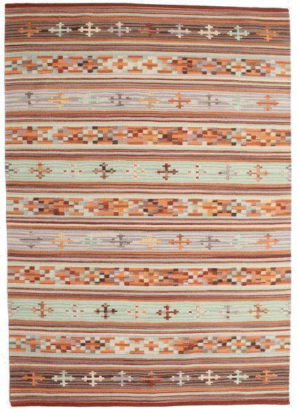 Kelim Anatolian Matto 140X200 Moderni Käsinkudottu Tummanpunainen/Vaaleanharmaa (Villa, Intia)