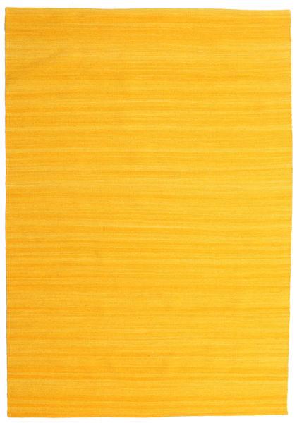 Kelim Loom - Keltainen Matto 160X230 Moderni Käsinkudottu Oranssi (Villa, Intia)