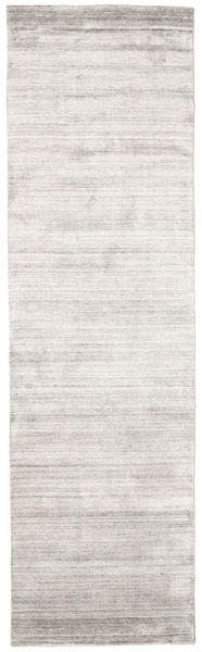 Bamboo Silkki Loom - Warm Harmaa Matto 80X300 Moderni Käytävämatto Vaaleanharmaa/Valkoinen/Creme ( Intia)