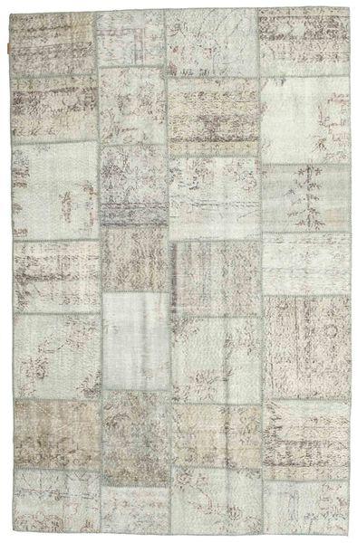 Patchwork Matto 196X302 Moderni Käsinsolmittu Vaaleanharmaa/Beige (Villa, Turkki)
