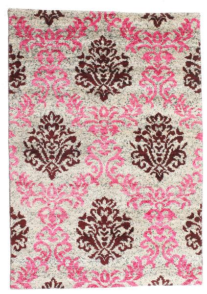 Jardine Matto 140X200 Moderni Käsinsolmittu Vaaleanpunainen/Vaaleanharmaa (Silkki, Intia)
