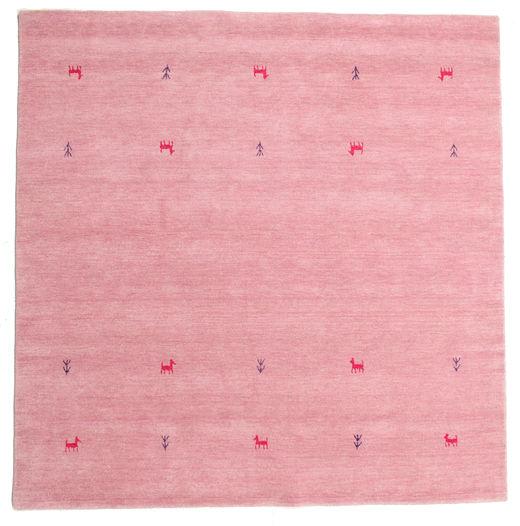 Gabbeh Loom Two Lines - Roosa Matto 200X200 Moderni Neliö Vaaleanpunainen/Pinkki (Villa, Intia)