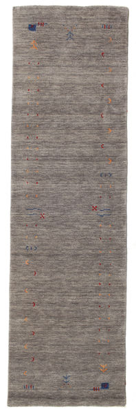 Gabbeh Loom Frame - Harmaa Matto 80X300 Moderni Käytävämatto Tummanharmaa/Vaaleanharmaa (Villa, Intia)