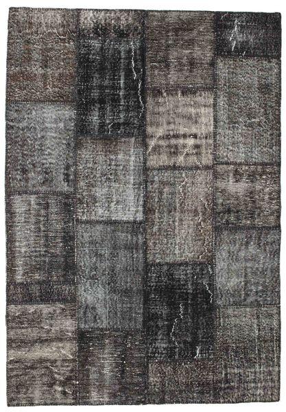 Patchwork Matto 162X233 Moderni Käsinsolmittu Tummanharmaa/Musta (Villa, Turkki)
