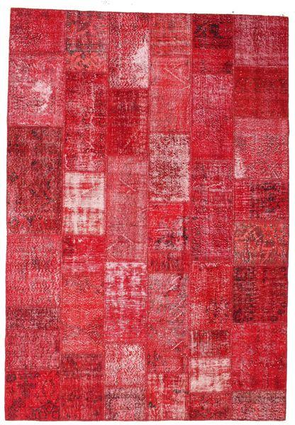 Patchwork Matto 201X295 Moderni Käsinsolmittu Punainen/Pinkki/Ruoste (Villa, Turkki)