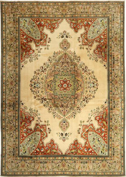 Tabriz Matto 270X380 Itämainen Käsinsolmittu Tummanbeige/Vaaleanruskea Isot (Villa, Persia/Iran)