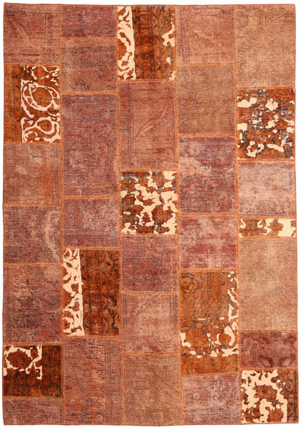 Patchwork Matto 166X243 Moderni Käsinsolmittu Punainen/Tummanpunainen (Villa, Persia/Iran)