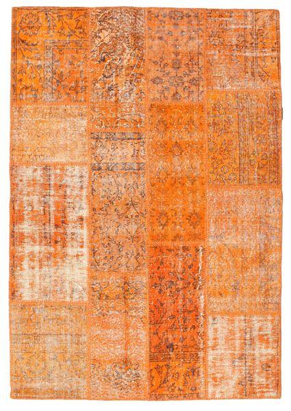 Patchwork Matto 141X205 Moderni Käsinsolmittu Oranssi/Vaaleanruskea (Villa, Turkki)