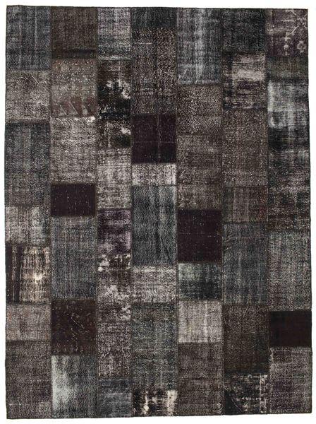 Patchwork Matto 273X367 Moderni Käsinsolmittu Tummanharmaa/Musta Isot (Villa, Turkki)