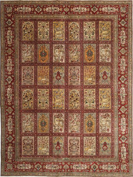 Tabriz Patina Allekirjoitettu: Sarkhani Matto 280X380 Itämainen Käsinsolmittu Tummanruskea/Ruskea Isot (Villa, Persia/Iran)