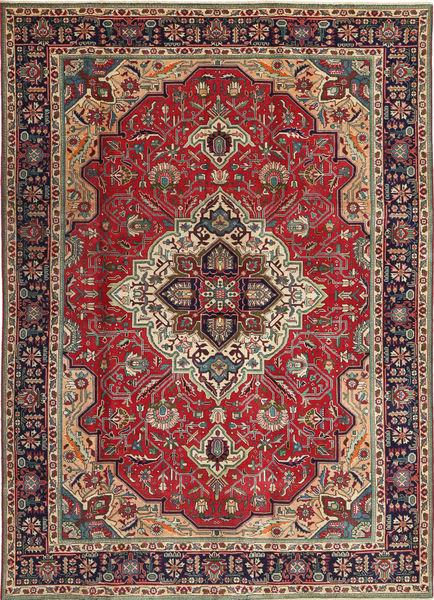 Tabriz Patina Matto 203X288 Itämainen Käsinsolmittu Tummanpunainen/Tummanruskea (Villa, Persia/Iran)